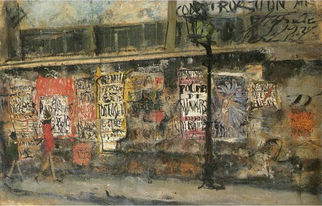 「ガス灯と広告」(1927年)佐伯祐三